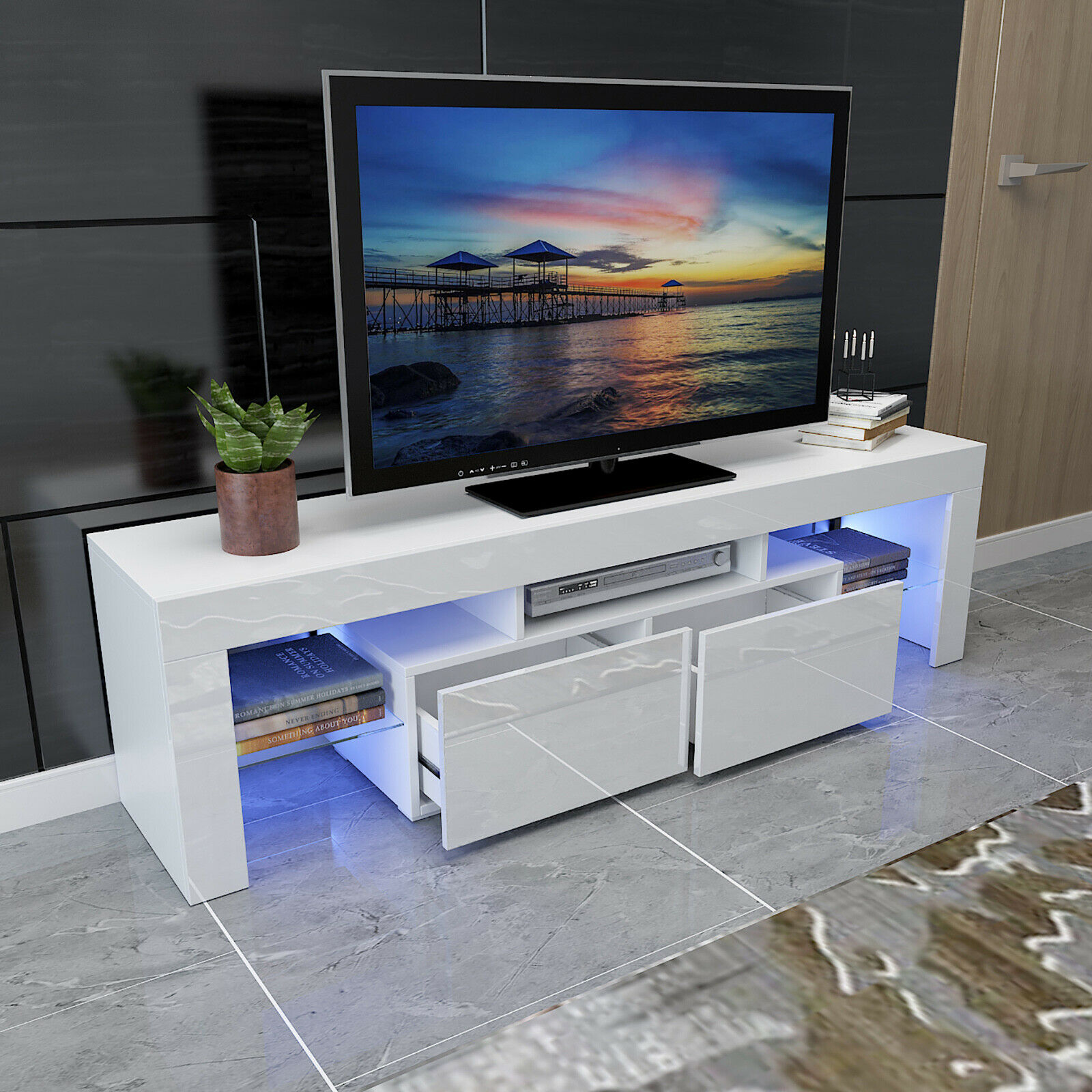 White 63 High Gloss TV Stand Unit Cabinet Console LED Shelve 2 Drawer Furniture. Available Now for 179.99