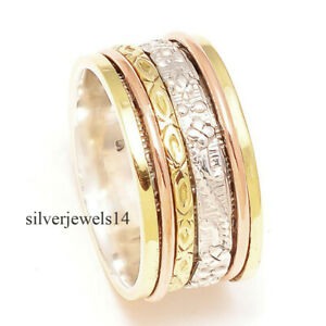 Spinner-Ring-925-Sterling-Silver-3-Tone-Wide-Band-Meditation-Jewelry-se269