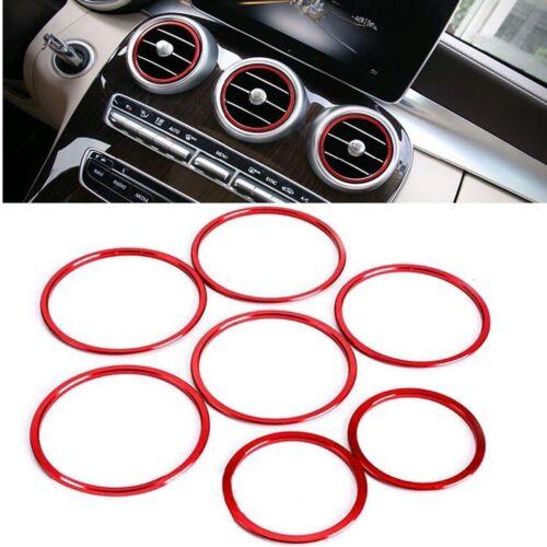 7 Lüftungsringe Zierringe Blenden Ringe Rot passend für Mercedes C W205 GLC X253