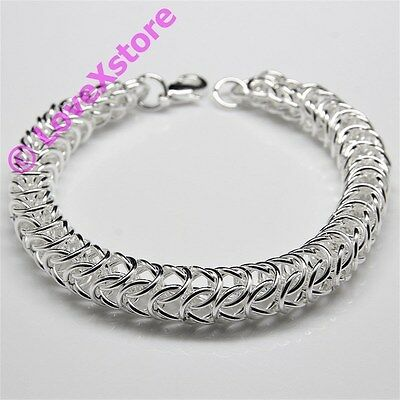 925 Sterling Silver Plated Thick Mix Link Chain Bracelet Bangle Bracelets