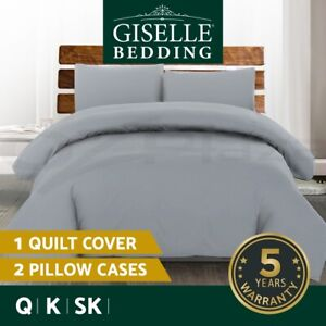 Giselle Bedding Luxury Classic Bed Duvet Doona Quilt Cover Set Hotel Q K SK Grey