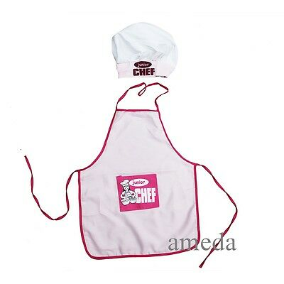 Kids Boys Girls Chef Hat Apron Pink Cookung Baking Chefs Junior 2pcs Set Costume