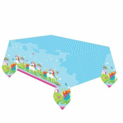 RAINBOW UNICORN TABLECOVER Plastic 1.8m x 1.2m Girl Birthday Party Tableware