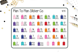 1270~~Vacation Countdown Planner Stickers.