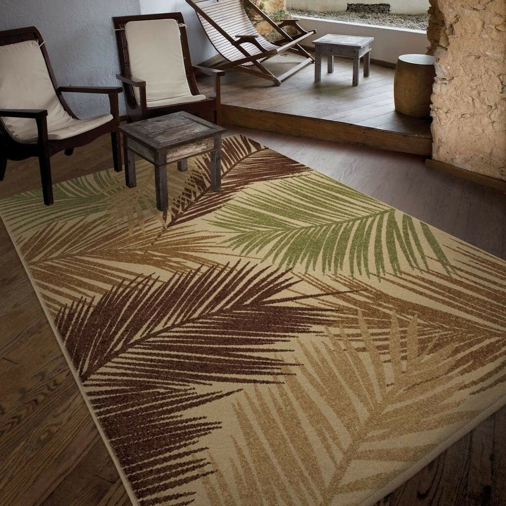 Beige Brown Palm Tree 5x8 Area Rugs