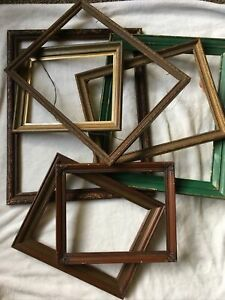 Vintage-Lot-6-Picture-Art-Frames-Estate-Lot-WOOD-8x10-to-14x16-shabby-chic-gesso