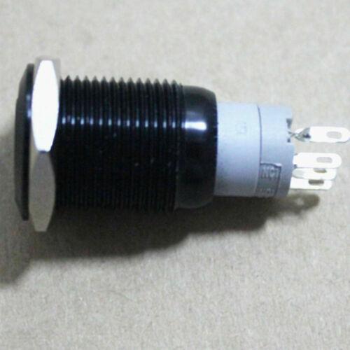 12V Auto KFZ Schalter Drucktaster 16mm Druckschalter Grün LED Beleuchtet Schwarz