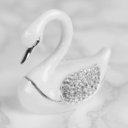 Treasured Trinkets Collectable White SWAN Die Cast Trinket Box Gift Ornament