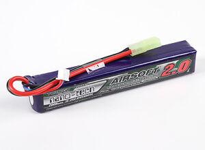 New Turnigy nano-tech 2000mah 2S 15C 25C 7.4V Lipo Battery Airsoft Pack US 1