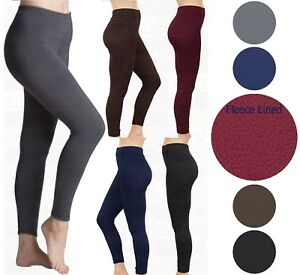 New Women/'s Ladies Thick Winter Lining Thermal Soft Fleece Leggings Size 8-18