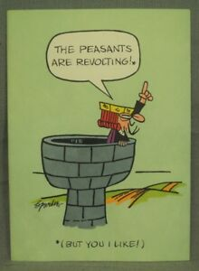 1960-039-s-VINTAGE-Wizard-of-ID-comic-strip-greeting-card-Peasants-are-Revolting