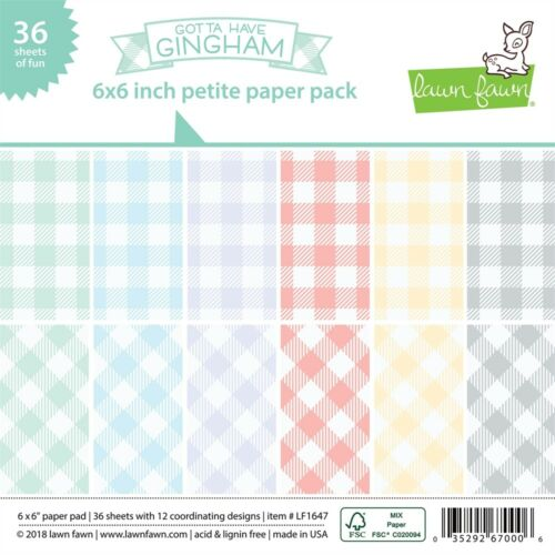 """12 Lawn Fawn Single-sided Petite Paper Pack 6/""""x6/"""" 36//pkg-gotta Have Gingham"""