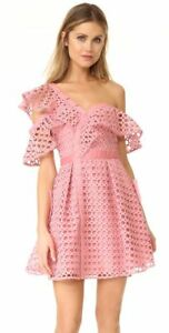 2106f26251ab SELF PORTRAIT Pink Guipure Lace Frill Off One Shoulder Asymmetrical ...