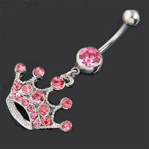 Wholesale Navel Belly Button Rings Bar Crystal Dangle Body Piercing Jewelry Gift