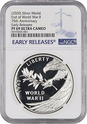 NGC PF69 2020 P End of World War II 2 75th Anniversary Silver Medal COIN PRESALE