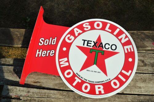 Texaco Gasoline /& Motor Oil Sold Here Tin Metal Flange Sign Gas Station Star