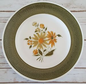 Bellegay Japanese Ironstone Serving Plate Round Platter Green Border Floral 12""
