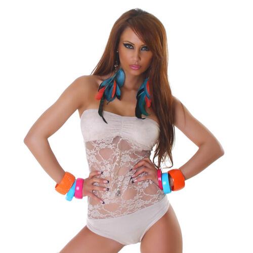 Damen Body Dessous Bandeau Spitze Bodysuit 32 34 36 38 S M