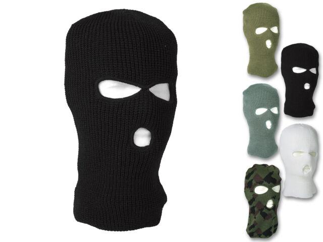 Balaclava Strick Acryl 3-Loch Sturmhaube Maske Skimaske Sturmmaske Schwarz 1X ~