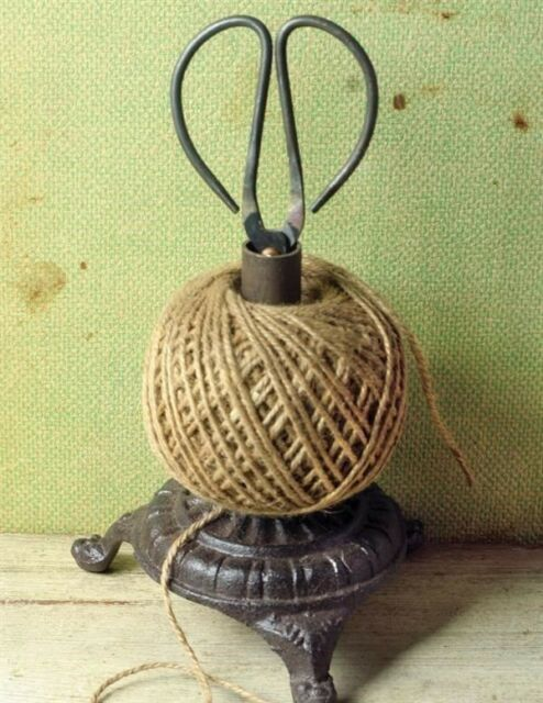Victorian Trading Co Cast Iron Twine Holder With Scissors String