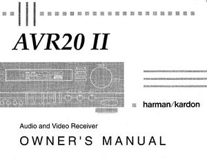 harman kardon avr 20 mk2 av receiver owners manual ebay rh ebay com Harman Kardon AVR 130 Harman Kardon AVR 347