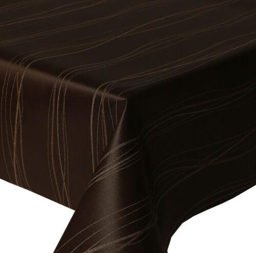 Acrylique Coated Table Cloth Vagues Marron Jacquard Chocolat au lait lignes Essuyer Capable