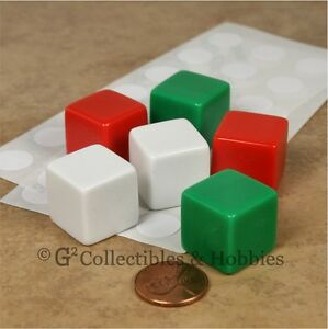 NEW-Set-of-6-Blank-Dice-19mm-Red-White-Green-RPG-D6
