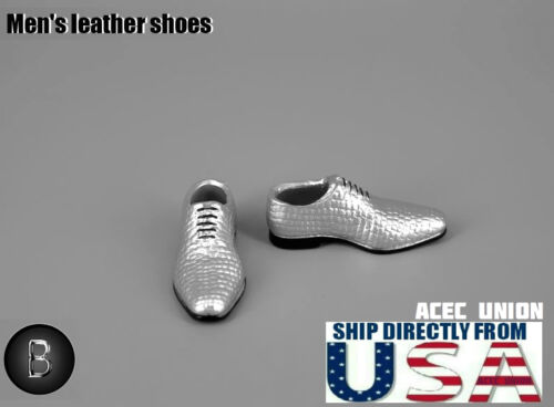 "SELLER 1//6 Men Shoes Evening Dress Shoes SILVER For 12/"" Hot Toys Phicen U.S.A"