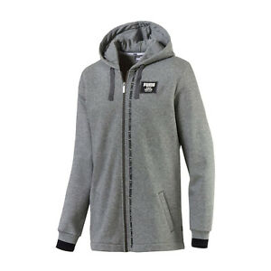 Details about PUMA Rebel Block Full Zip Fleece Hoodie Relaxed Fit Gray Mens Size Medium Large
