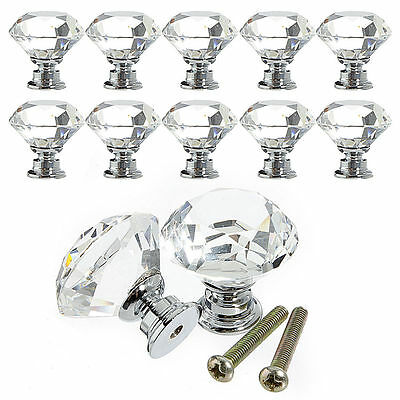 1/10Pcs 30mm Diamond Crystal Glass Door Drawer Cabinet Wardrobe Pull Handle Knob