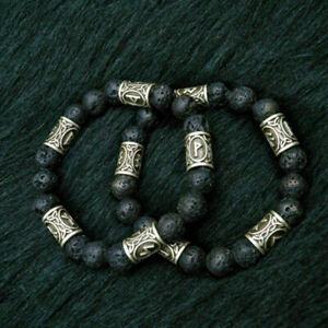 Norwegische-Wikinger-Rune-Spacer-Charms-Lava-Stein-Perlen-Armband