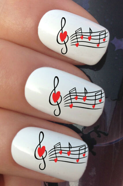 NAIL ART SET #368 x24 RED HEART MUSIC NOTE WATER TRANSFER TATTOO DECALS STICKERS