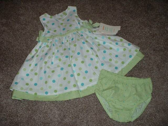 Carter's Baby Girls Green Polka Dot Dress Set Size 18 Months 18M NWT NEW Summer