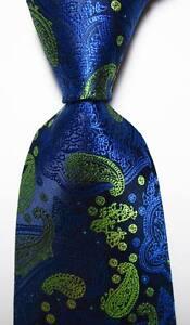 New-Classic-Paisley-Dark-Blue-Yellow-JACQUARD-WOVEN-100-Silk-Men-039-s-Tie-Necktie