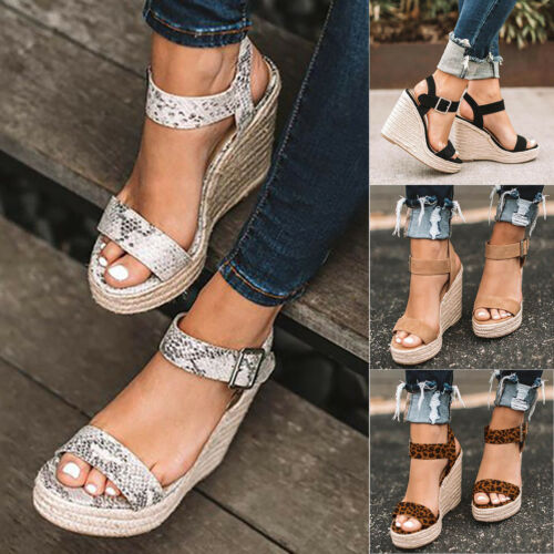 Women/'s Platform Wedge High Heels Sandals Ladies Open Toe Espadrilles Shoes Size