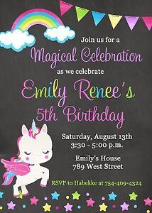 Image Is Loading Unicorn Birthday Party Invitation Rainbow