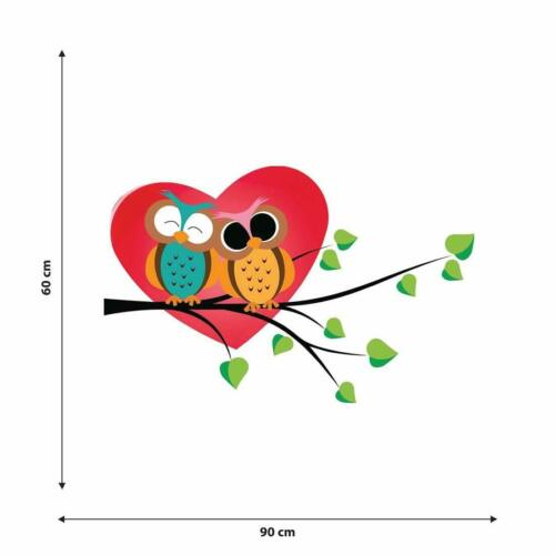 Details about  /CUTE OWLS WALL STICKERS 3D LOOK BEDROOM LOUNGE NATURE BIRDS VINYL WALL DECALS