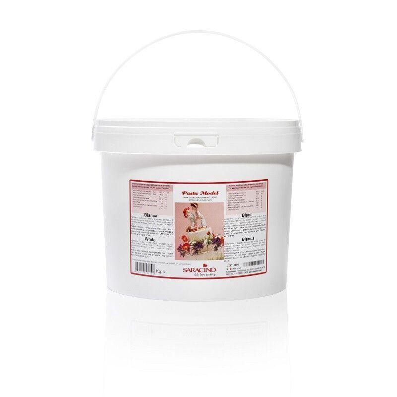 Saracino Modellierpaste Modellierfondant Modelliermasse 5 kg Weiß Eimer