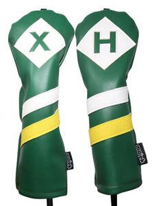 Majek-Retro-Golf-X-amp-H-Wood-amp-Hybrid-Headcover-Green-White-Yellow-Leather-Style