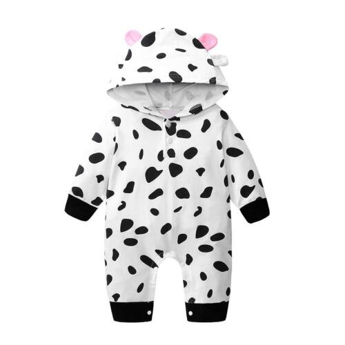 Baby Boy Girl Spring Autumn Long-Sleeves Rompers Cartoon Cow Jumpsuit R1BO