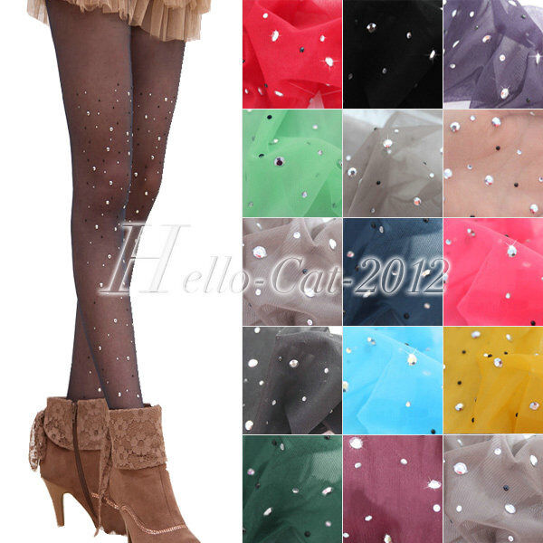 Sexy Women Candy Color Thin Bling Crystal Rhinestone Pantyhose Tights Stockings
