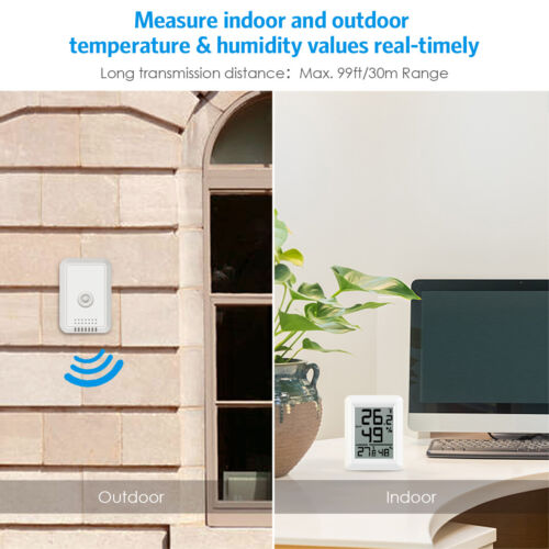 Indoor Outdoor Digital LCD Thermometer Hygrometer Home Room Temperature Humidity