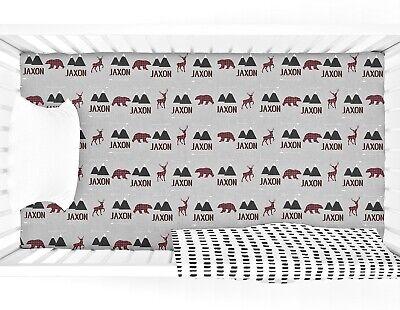 Personalized Bear Deer Fitted Crib Sheet Customized Lumberjack Nursery Decor Ebay