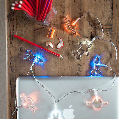 Battery Operated Space LED Bedroom Fairy Lights, 12 Rockets, Spacemen & Planets