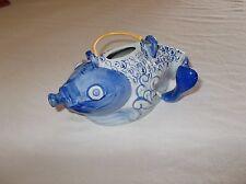 Vintage Chinese glazed decorative ornamental fish shaped tea pot used nice