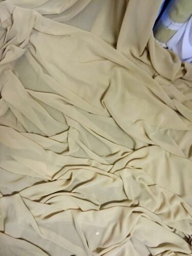 """5 MTR QUALITY NUDE GEROGETTEE CREPE BRIDAL CHIFFON FABRIC...58/"""" WIDE £12.50"""