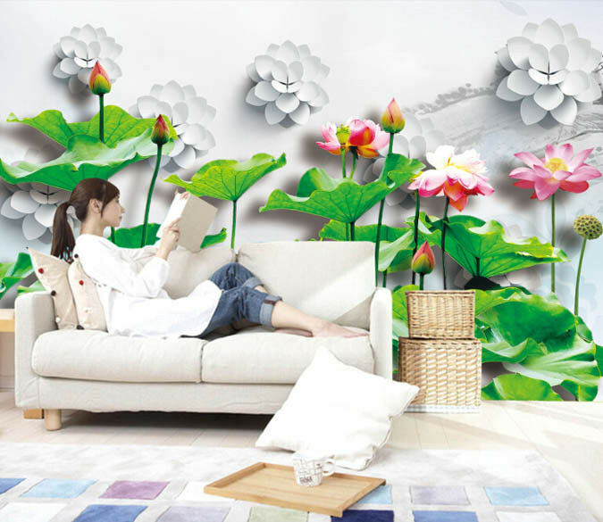 3D Lotus Leaf Flowers 599 Wall Paper Wall Print Decal Deco Indoor Wall Mural CA