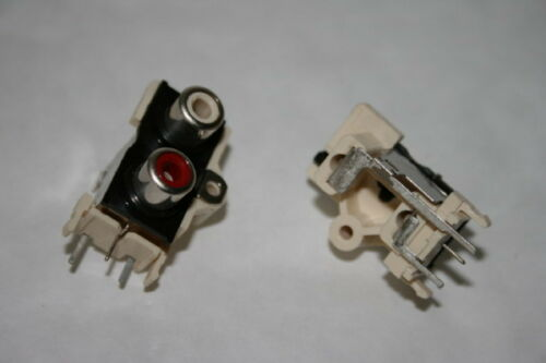 WHITE    fd1a29 TWIN PANEL PHONO FEMALE RCA SOCKET INPUT ASSEMBLY RED