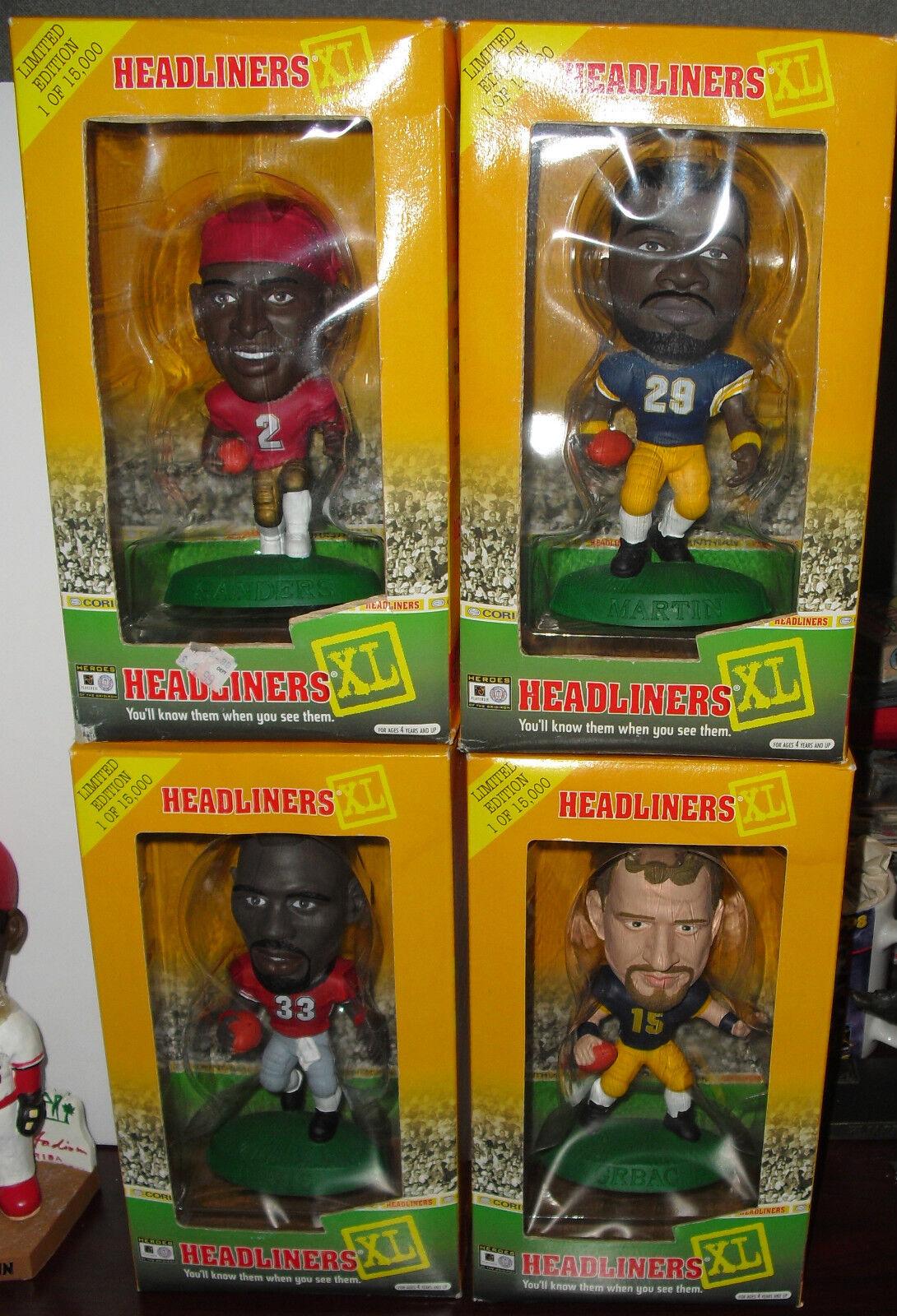 1998 Headliners XL Football LOT OF 4 Deion Sanders Curtis Martin Grbac T. Davis