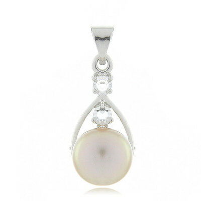 18k White Gold EP Natural 9mm Pink Freshwater Pearl Pendant